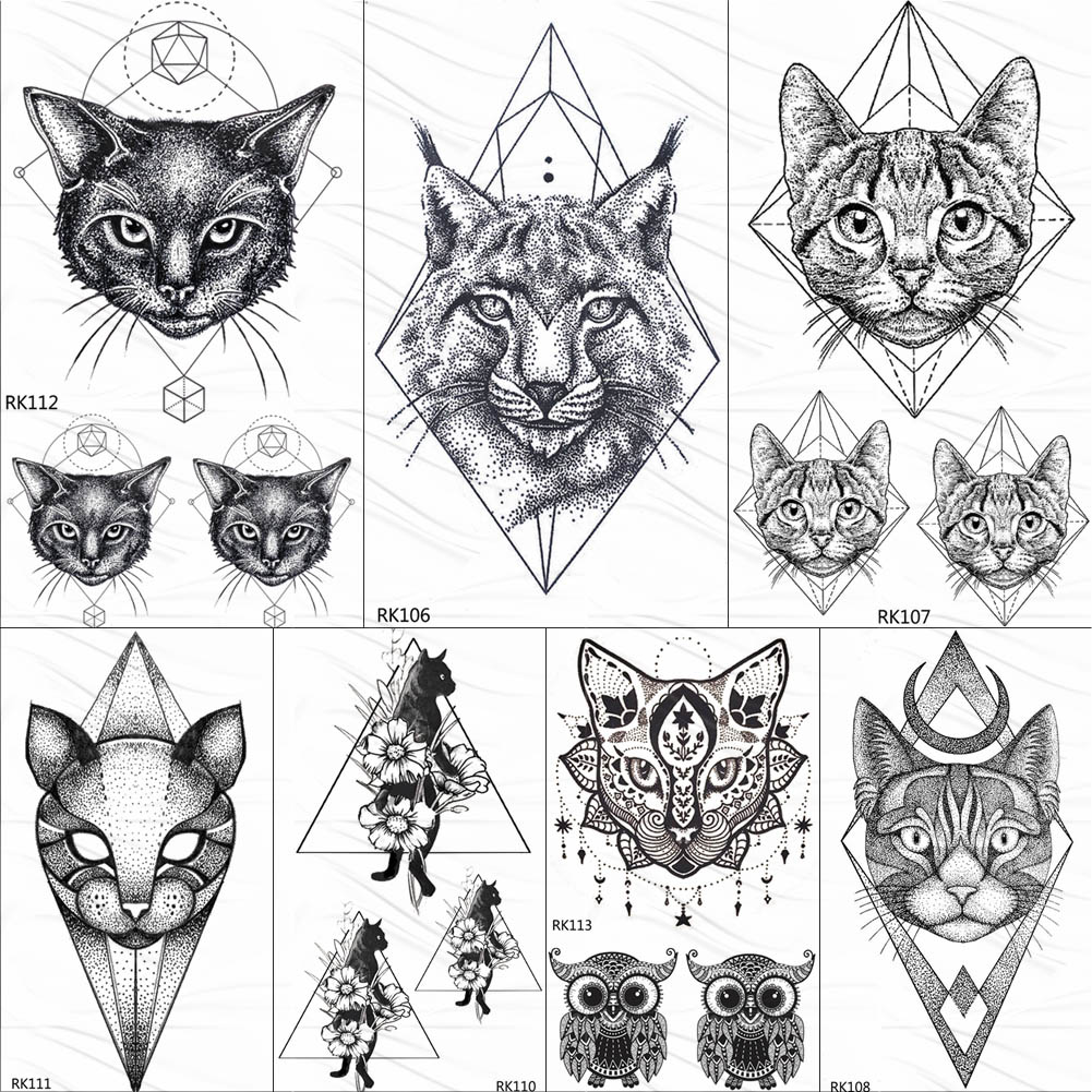 OMMGO Geometric Cat Line Temporary Tattoos Sticker Diamond Black Small Custom Tattoo DIY Body Art Wrist Fake Tatoos Women Men