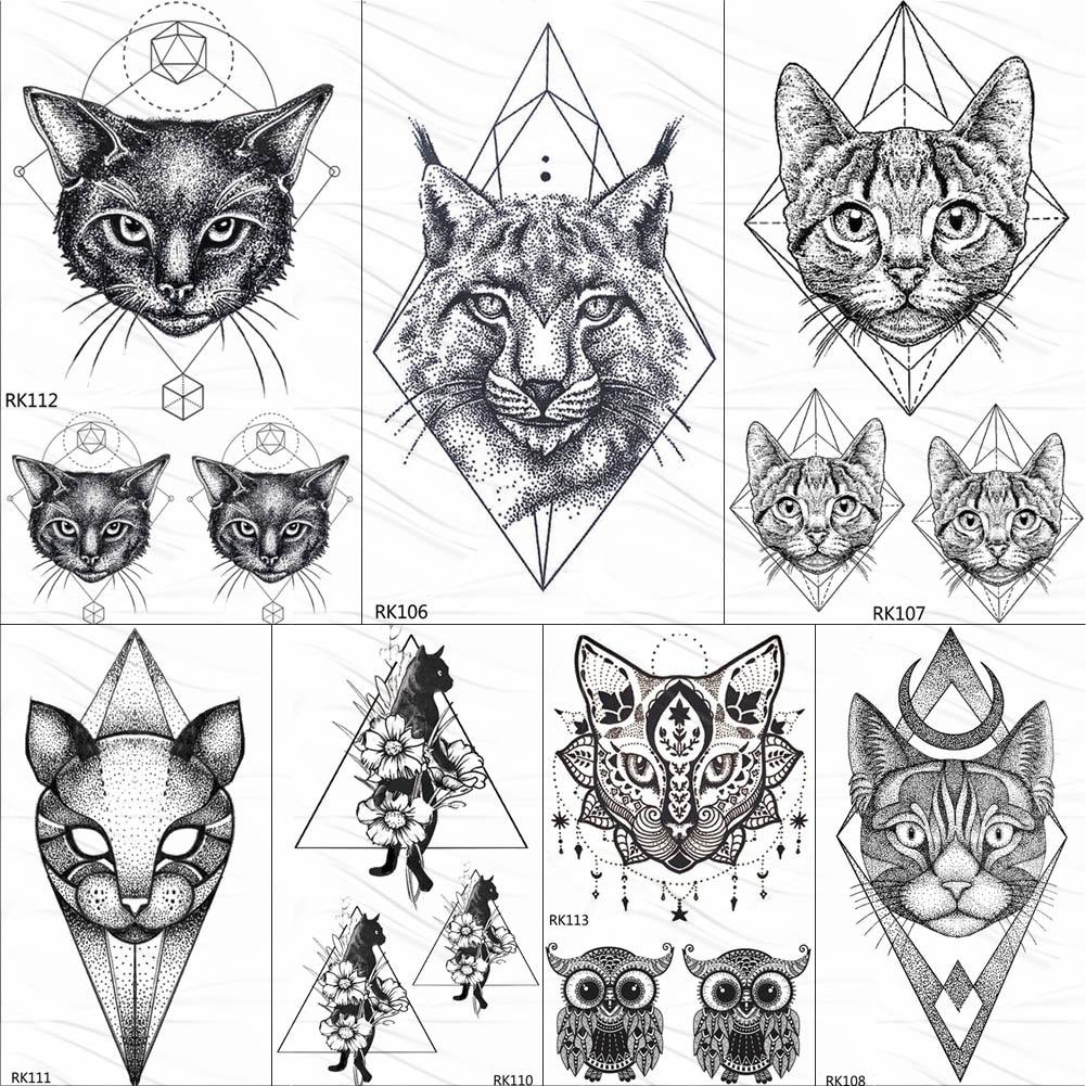 OMMGO Geometric Cat Line Temporary Tattoos Sticker Diamond Black Small Custom Tattoo DIY Body Art Wrist Fake Tatoos Women Men