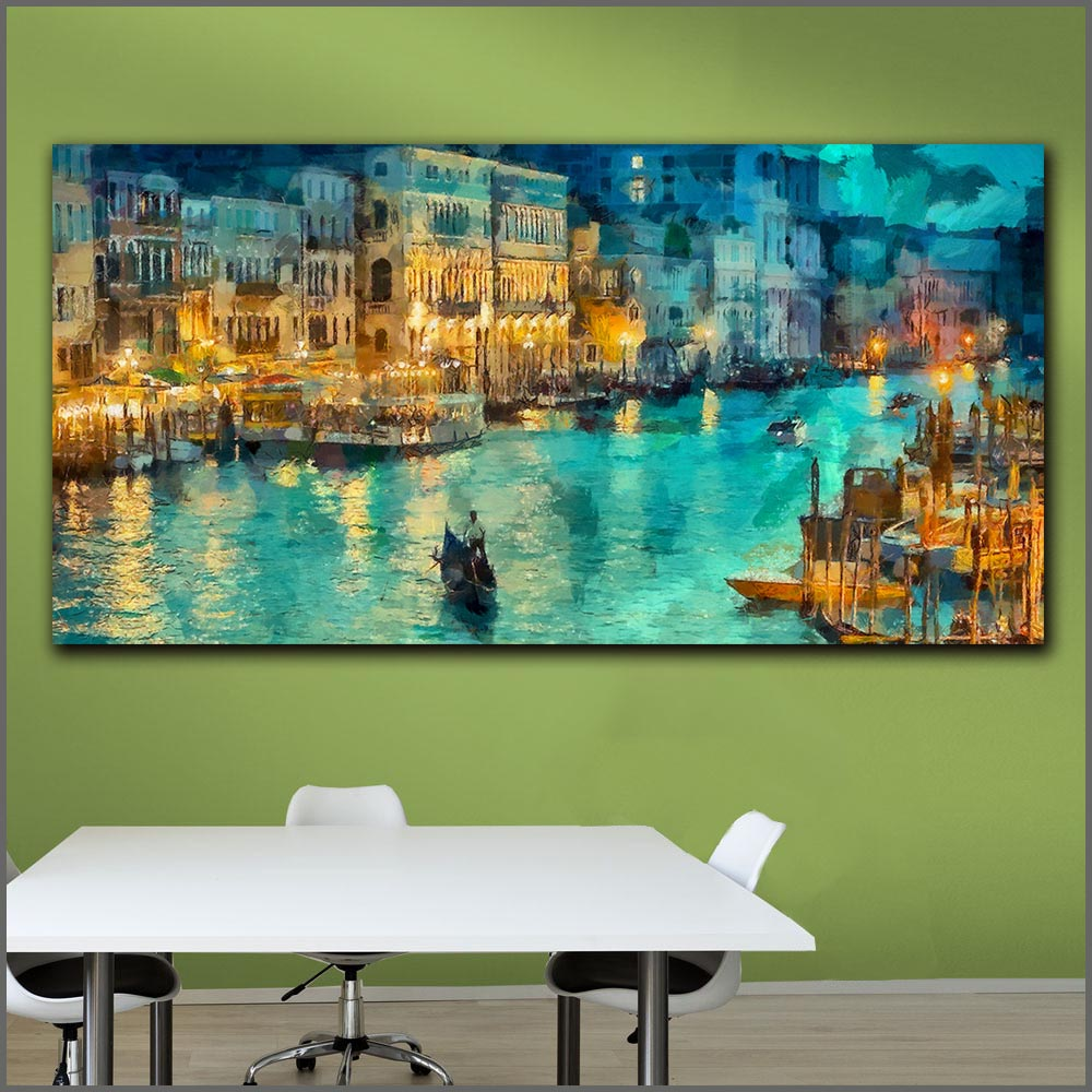 Large Size Printing Oil Painting Abstract Venice Italy At Night Wall Art Canvas Prints Pictures For Living Room And Bedroom