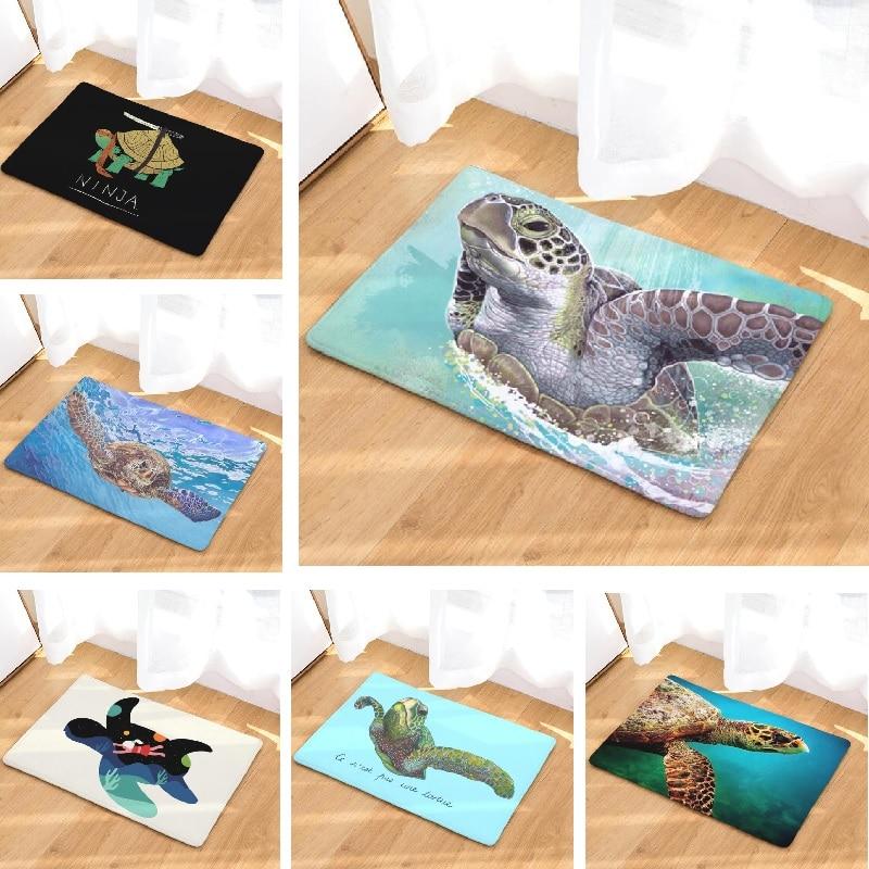 Bath Mat Turtle Printed Suede Rug Home Decoration Bathroom