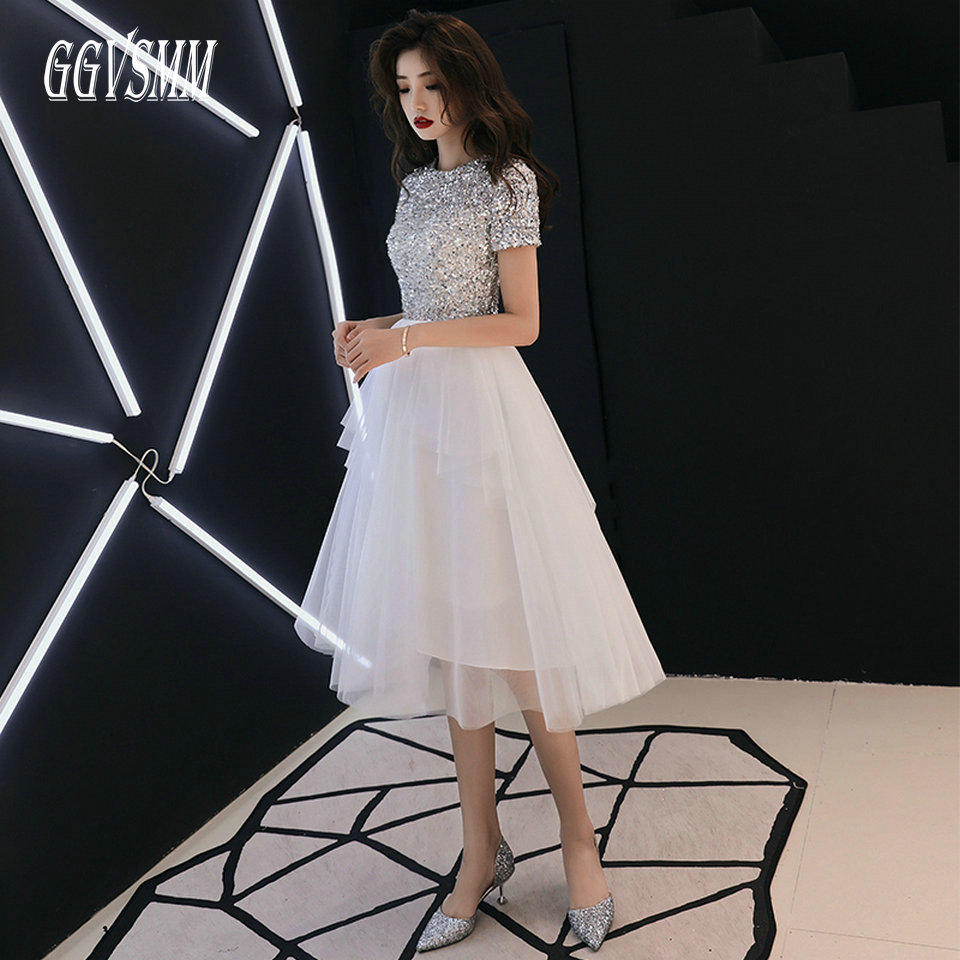 Fashion White Prom Dresses Short 2020 Sexy Red Prom Dress Women O Neck Tulle Zipper A-Line Knee-Length Cheap Evening Party Gowns