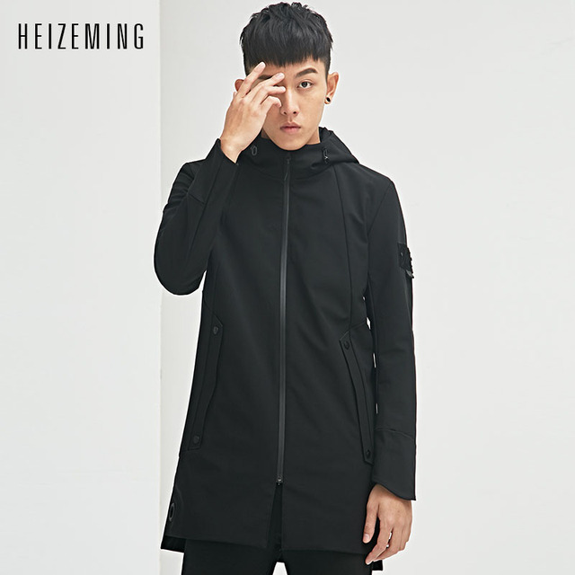 HEIZEMING 2017 New Spring simple Mens Dust coat Homme Military Mens Jacket Brand Casual Dark Coat Male Clothing
