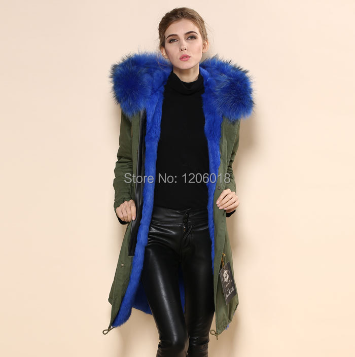 High quality women lake blue fur parka coatwinter warm large fur