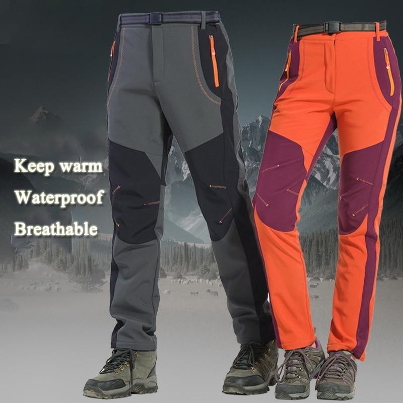 Calças De Esqui De inverno Ao Ar Livre Caminhadas Pesca Camping Caminhadas À Prova D' Água de Esqui Calças de Lã Escalada Softshell Trouserl Das Mulheres Dos Homens