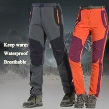 Зимние уличные пеший Туризм лыжный брюки для девочек Рыбалка непромокаемые Кемпинг Треккинг флис лыжные штаны восхождение Softshell Trouserl д