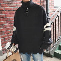 2017 Winter New Pattern Stripe Patchwork Turtleneck Half Zipper Pullover Loose Men Sweater Knitting Unlined Upper
