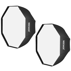 Neewer 32 inches Black Octagonal Softbox with White Diffuser and Bag(2 Pack)