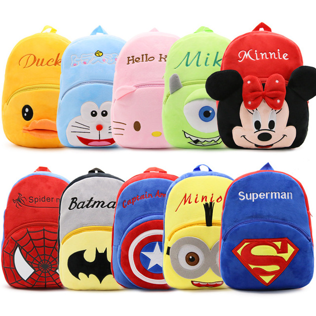 26 32 9.5cm New Children Plush Cartoon Backpacks Kids Schoolbags Hello  Kitty Superman Rabbit Bags for 1-5 Years old Girls   Boys 6b12c9c42022f