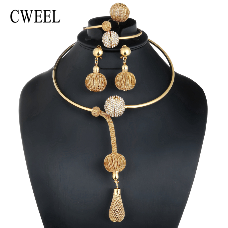 CWEEL African Beads Jewelry Set Dubai Bridal Jewelry Sets For Women Nigerian Wedding Jewelry Vintage Statement Necklace Set stonefans rosered dubai jewelry sets for women in nigerian wedding set prom necklace rhinestone necklace and earing sets wedding