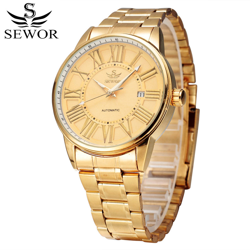 SEWOR Luxury Gold Mechanical Watch Men Automatic Self Wind Man Watches Stainless Steel Date Wristwatch Montre Automatique HommeSEWOR Luxury Gold Mechanical Watch Men Automatic Self Wind Man Watches Stainless Steel Date Wristwatch Montre Automatique Homme