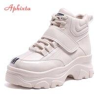 Aphixta/обувь на платформе, женские ботильоны, ботинки на платформе, увеличивающие рост, женские непромокаемые ботинки на толстой подошве с зас...