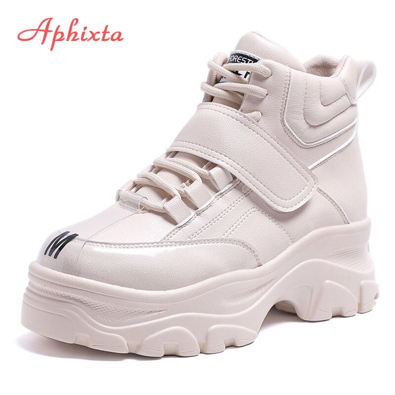 Gran Zapatos Mujer Botas Tobillo Y Aumento Aphixta Gruesa Gancho Bucle Plataforma Mujeres Beige Suela Altura black Impermeable Las De Tamaño qXZxZw45