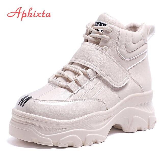 Aphixta แพลตฟอร์มรองเท้าผู้หญิงข้อเท้ารองเท้าบูทความสูงที่เพิ่มขึ้นรองเท้าหนารองเท้า Hook & Loop ผู้หญิงขนาดใหญ่กันน้ำ