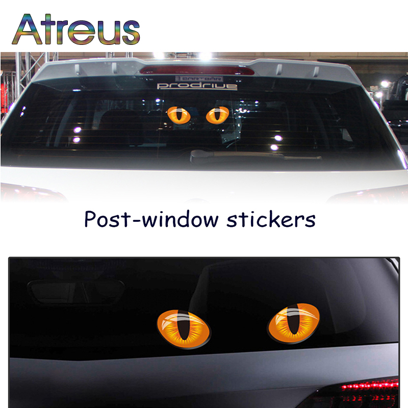 Atreus 3d cat eyes car stickers truck head rearview mirror window stickers for mazda 6 cx 5 bmw e46 mini cooper audi a4 ford in car stickers from