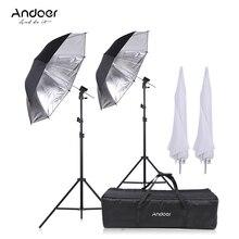 Andoer Camera Double Flash Shoe Mount Swivel Soft Umbrella Kit Soft Umbrella+Light Stand+Shoemount+B Type Bracket +carrying bag