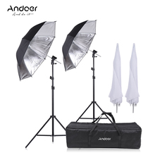 Andoer Camera Dubbele Flash Shoe Mount Swivel Zachte Paraplu Kit Zachte Paraplu + B Type Beugel + Draagtas + Light Stand + Shoemount