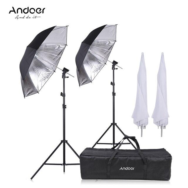 Andoer Máy Ảnh Đôi Đèn Flash Giày Núi Xoay Mềm Umbrella Kit Mềm Ô + Ánh Sáng Đứng + Shoemount + B- loại Khung + mang túi