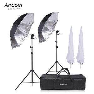 Image 1 - Andoer caméra Double Flash chaussure montage pivotant doux parapluie Kit doux parapluie + pied de lumière + Shoemount + support de Type B + sac de transport