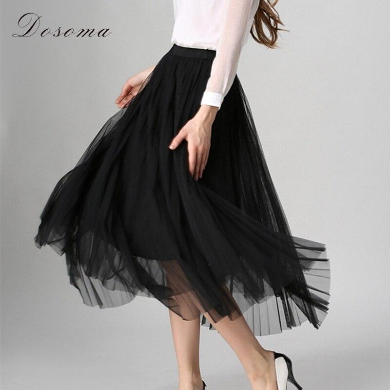 elegant tulle rok wanita 2017 musim semi panas gaya eropa tiga lapisan lipit