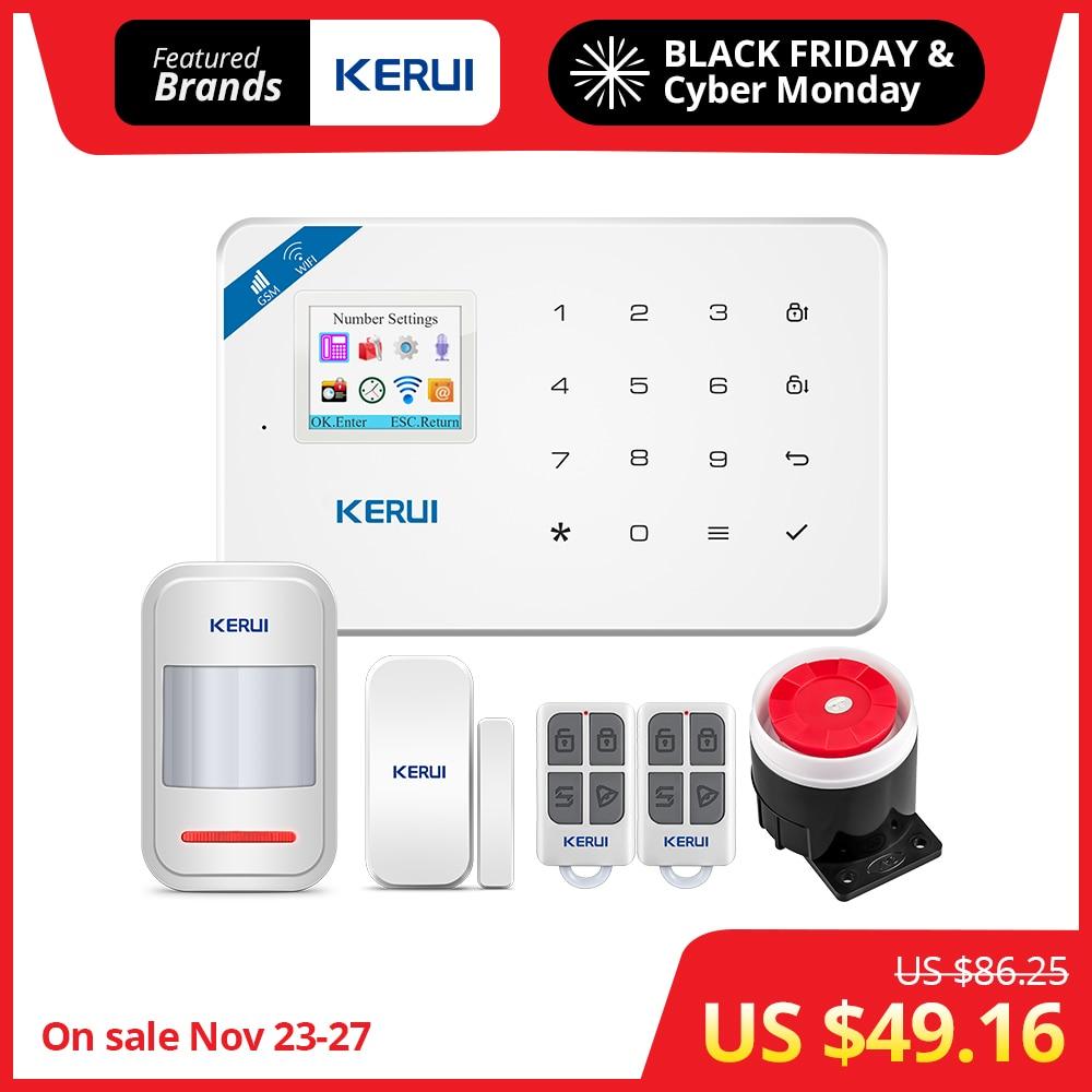 KERUI W18 1,7 pulgadas pantalla TFT WIFI GSM antirrobo casa Sistema de alarma de seguridad Detector de movimiento APP Control alarma del Detector de humo