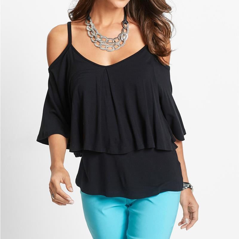 Women Blouse Cold Shoulder Shirts Loose Sexy Strapless ...
