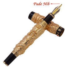 Jinhao Vintage Gold-Black Ring Fountain Pen Double Dragon Calligraphy Fude Nib Metal Carving Embossing Heavy Gift Pen Collection