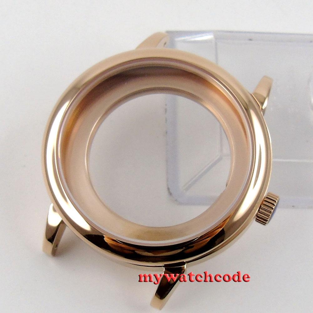 лучшая цена 40mm rose golden automatic Watch Case fit ETA 2824 2836 MOVEMENT P69P
