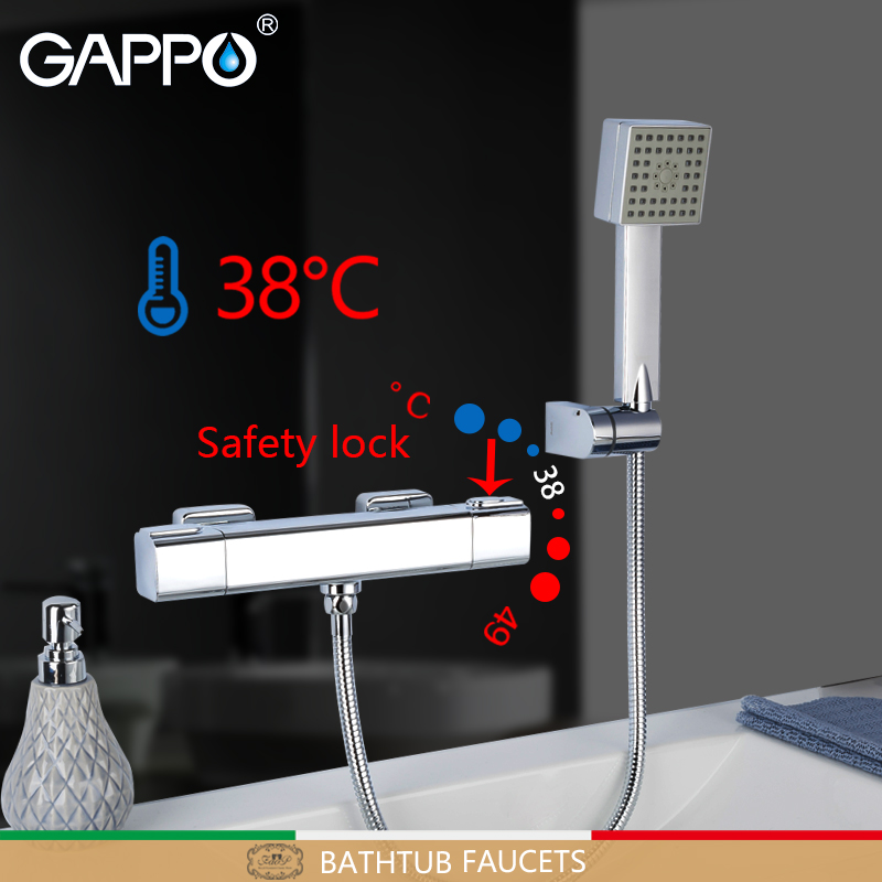 купить GAPPO Bathtub Faucet thermostatic bath bathtub faucets chrome bathroom shower wall thermostat bathtub faucets mixer torneira недорого