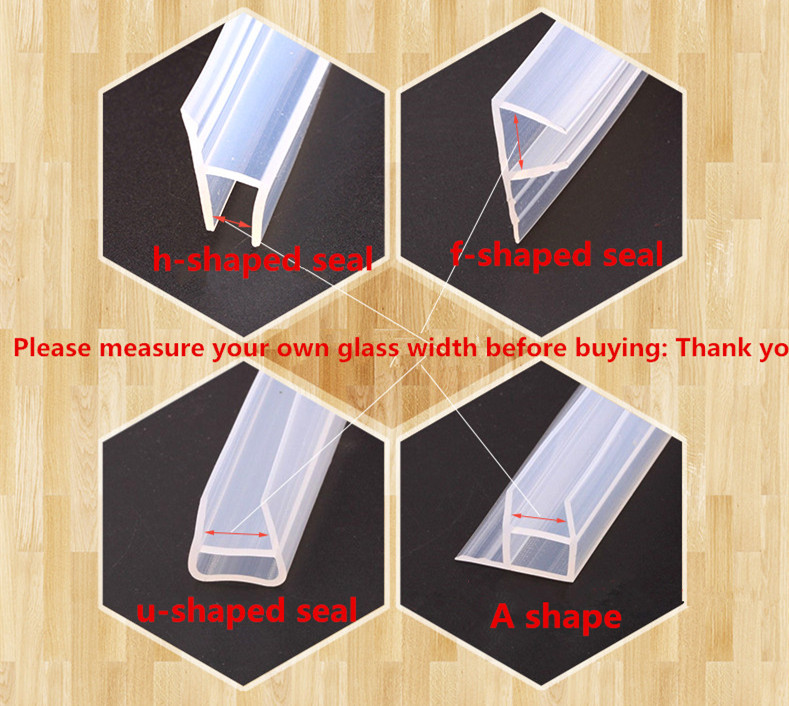 Candid 1 Meter A F U H Shape Silicone Rubber Shower Room Door Window Glass Seal Strip Weatherstrip For 6 To 12 Mm Glass