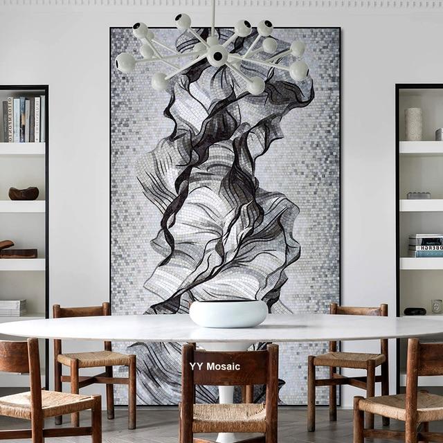 New Design Customized Modern Black White Flower Art Mosaic Mural