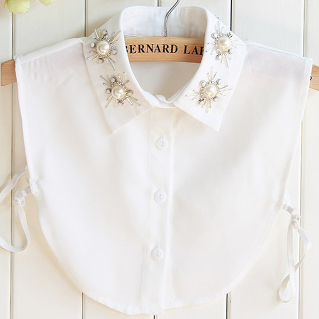 Crystal Necklace Vest Blouse Blouse Pearls Embroidery Accessories