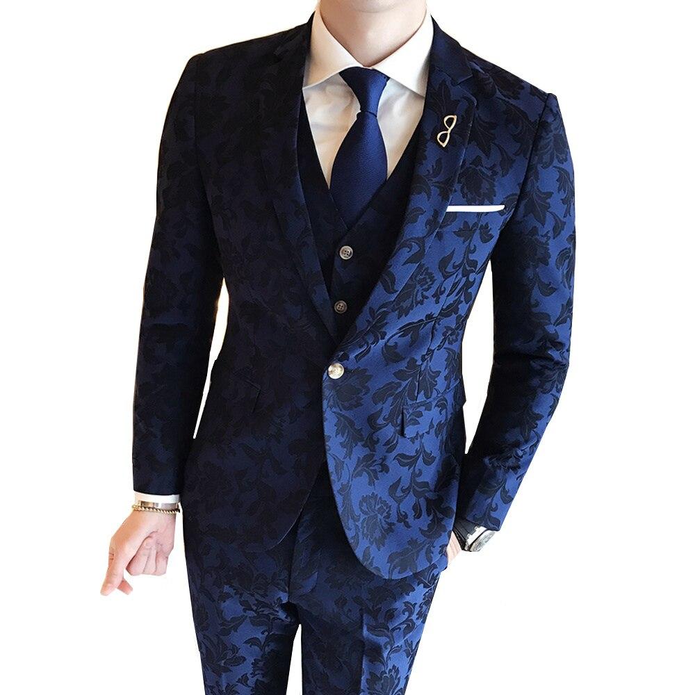 (jas Broek Vest) Hoogwaardige Mode Smoking Afdrukken Bruidegom Trouwjurk Suits Mens Business Slanke Pakken Blazer 3 Stuks