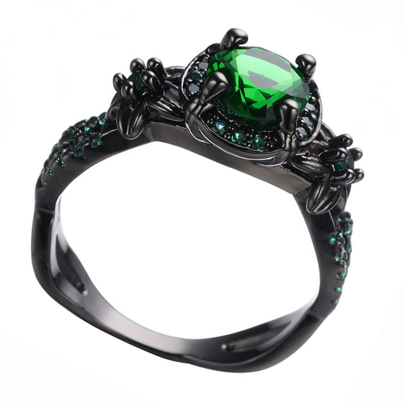 AMORUI Vintage Party Women Ring Green CZ Fashion Black Gold Color Wedding Engagement Rings for Women