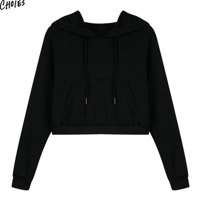 Women Hoodie High Street Style Casual Short Pullover Sweatshirt
