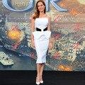 Angelina Jolie Mismo Estilo Elegante Blanco de la Alfombra Roja Vestidos Con Estampado Negro 2017 Sin Tirantes de Moda de Las Mujeres Vestido de Fiesta Formal