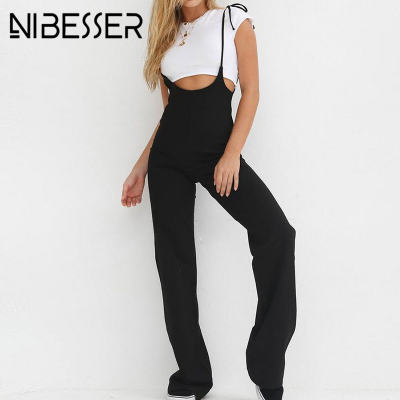 NIBESSER Summer 2018 Woman High Waist Black Harem Sweat Loose Pants Women Fashion Solid Overalls Casual Lace Up Wholesale