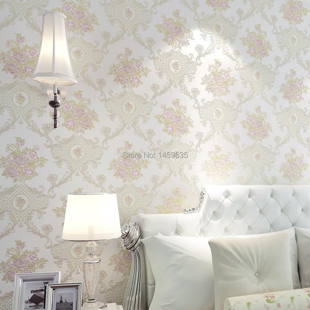 Non-woven wallpaper art paper daughter bedroom cozy living room European-style garden wallpaper 3D stereoscopic TV backdrop
