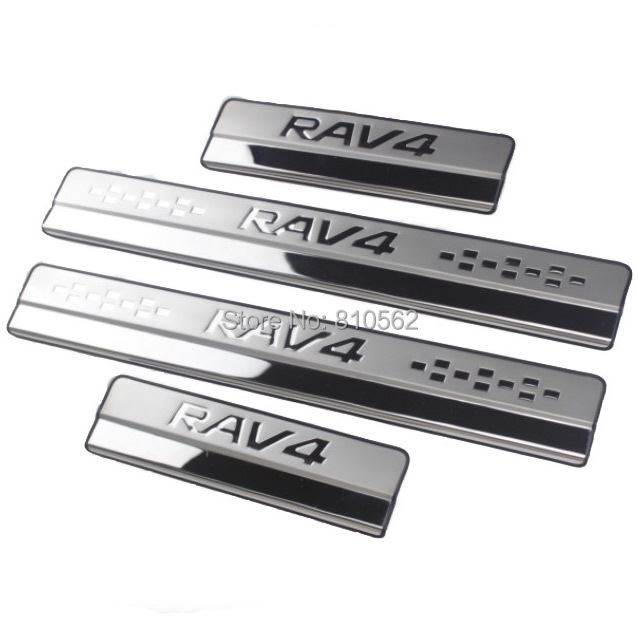 Car stainless steel door sill strip fit for 2012-2016 rav4 2014 2016 RAV4 welcome pedal auto accessories 4pcs/lot,Free shipping for mitsubishi pajero 2013 stainless steel internal door sill strip welcome pedal auto car styling stickers accessories 4 pcs