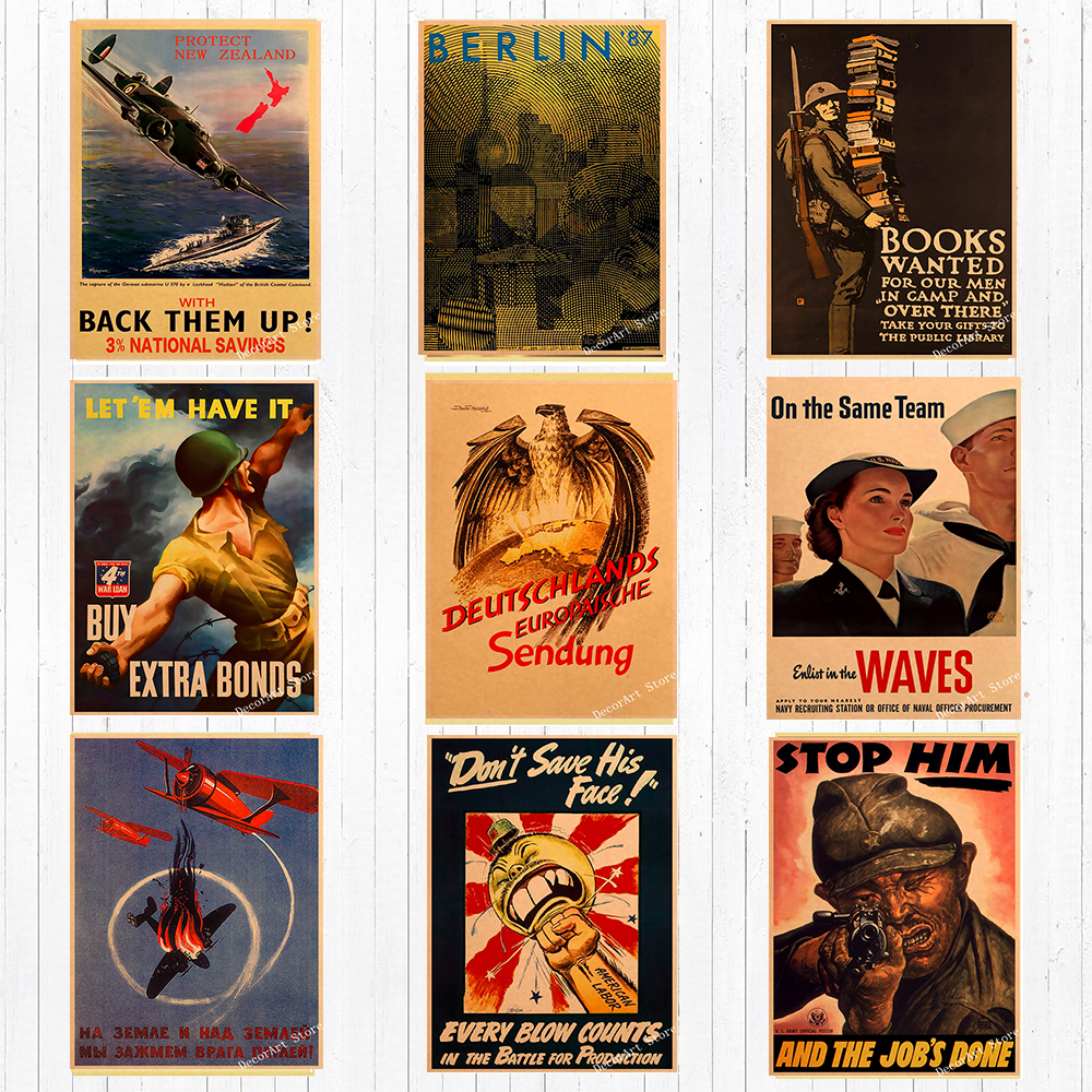 Art print POSTER Military Vintage Canvas Books Wanted for Our Men Over There