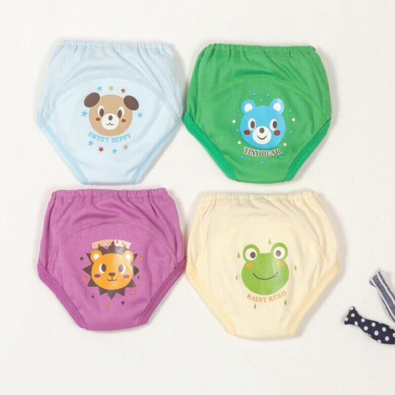 4pc/lot Baby Toddler Boys Cute 4 Layers Waterproof  Training Pants Reusable Size 100 Suit 12-14kg