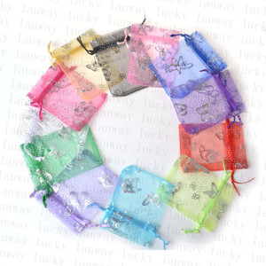 50pcs 10x12cm Colorful butterfly Christmas Wedding voile Organza Bags Jewlery packing Gift gift Bags & Pouches