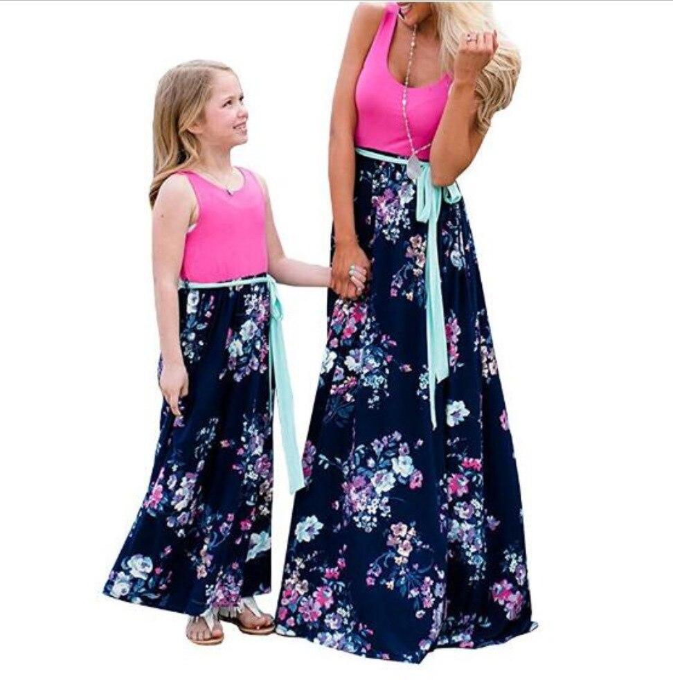 Mère fille robes tenues sans manches longue robe maman et fille robe filles mère et moi robe correspondant vêtements de famille 4
