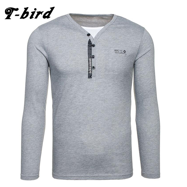 01950578d1c New Brand 2017 Male Slim Fit T Shirt V Collar Solid Color Printing Cotton  Long Sleeve T-Shirts Men Summer Tee Casual Tshirt 2XL