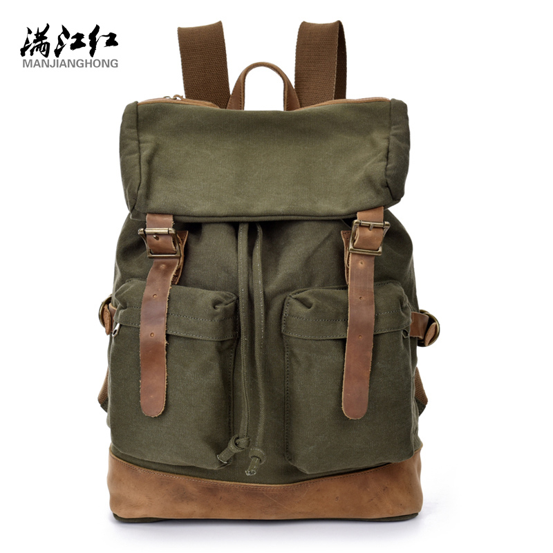 ФОТО 2016 New Laptop Backpack Casual Travel  Military Bag Thick canvas fashion casual  backpack 1513
