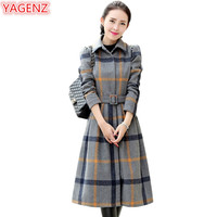 YAGENZ Wool Coat Women Clothing Dress Autumn Winter Jacket Women Fashion Long Dress Temperament Lattice Woolen Dress Coat 507