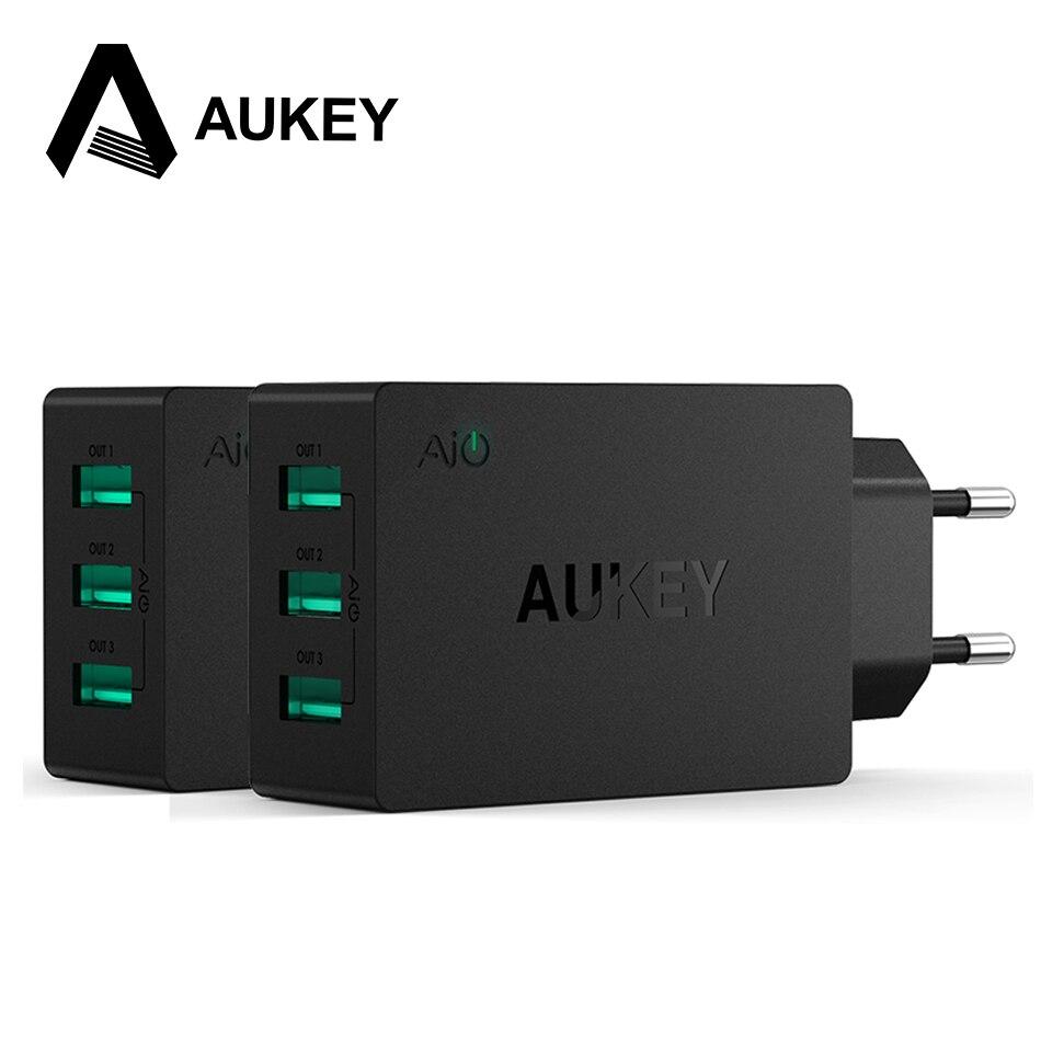 3-port aukey universal usb portátil de viaje cargador de pared cargador de la ue