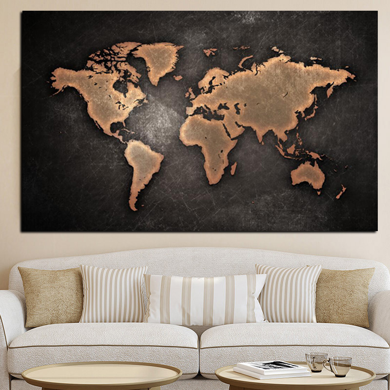 Abstract 3d world map canvas painting classical black world map abstract 3d world map canvas painting classical black world map print on canvas for office room gumiabroncs Images