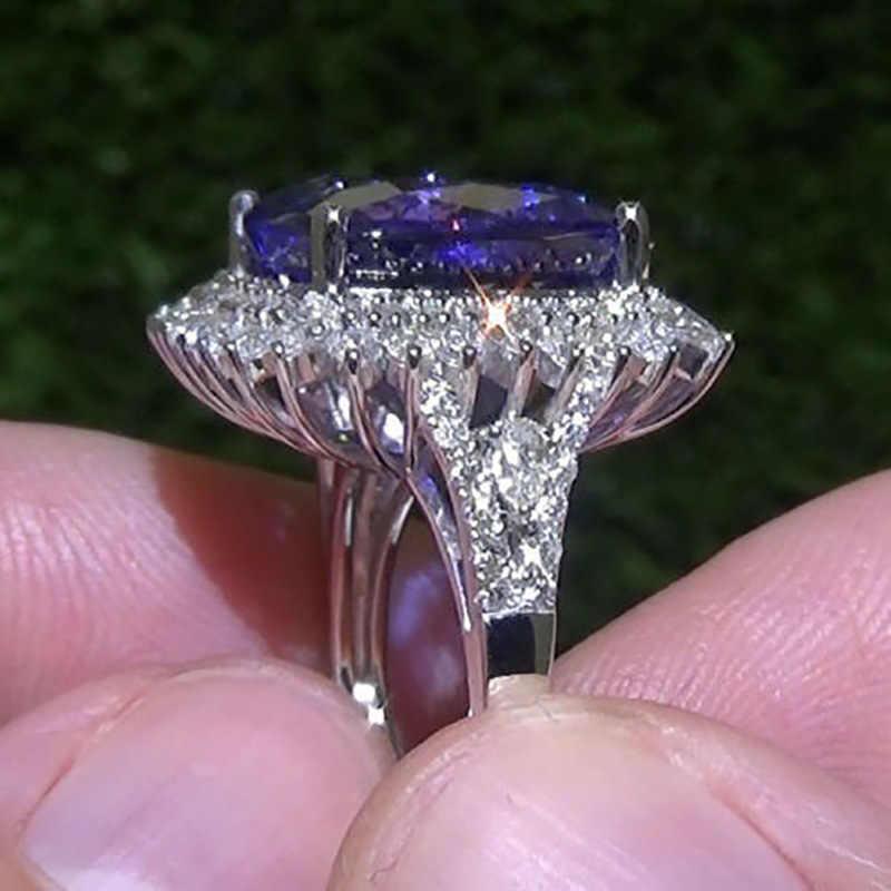 Purple Stone Ring Flower White Stone Ring Silver Pattern Purple Ocean Tanzan Zircon Heart for Female Wedding Size 5/6/7/8/9/10