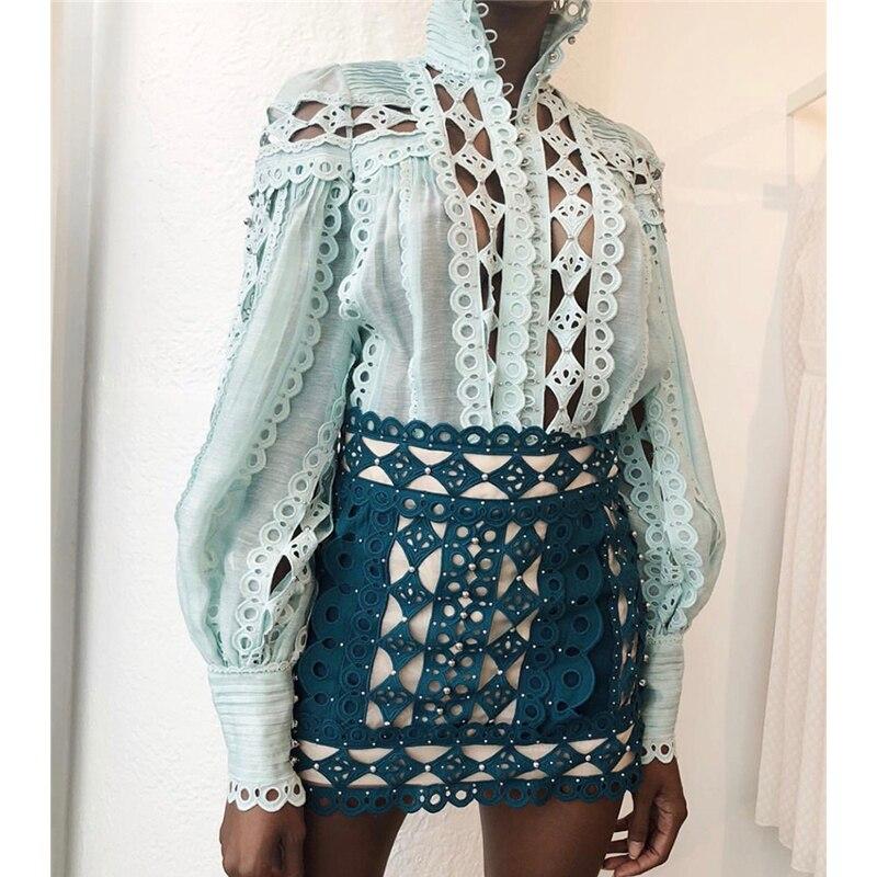 Summer Runway Mini Skirt Women s High Street Fashion Sexy Embroidery Hollow Out Rivet Skirt Skirt