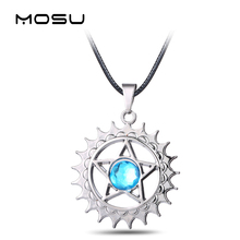 MOSU Hot Anime Black Butler Metal Necklace Demon contract Blue crystal Pendant Cosplay Accessories Jewelry can Drop-shipping